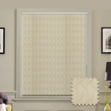 Made to measure vertical blind in Cream Jacamar Blackout Fabric
